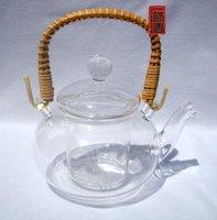 Посуда 600ml Glass teapot+6 Cup, Rattan Handle, B016