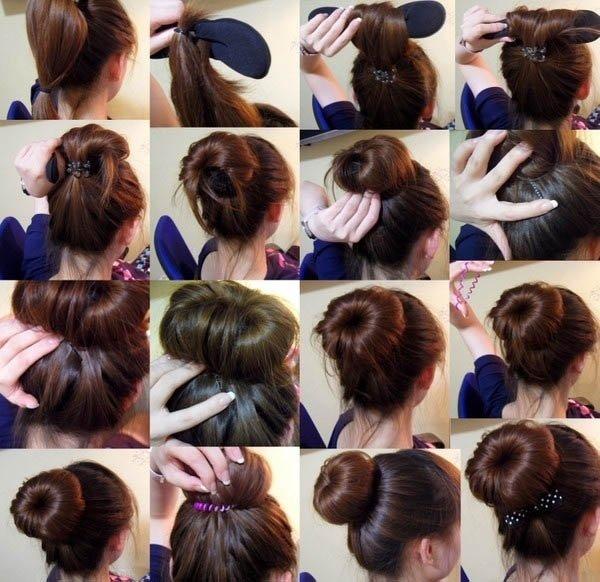 Прическа на длинные волосы с бубликом
