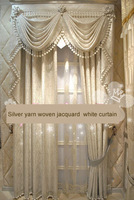 Занавеска New silver yarn woven jacquard white curtain drapes blind