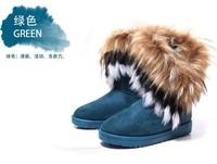 Женские ботинки 2013 winter warm furry winter boots artificial fox rabbit fur leather tassel women's shoes, size 36-40