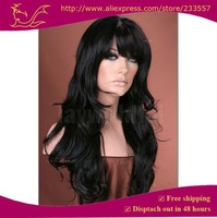 "Парик из искусственных волос New Fashion Synthetic lace front wigs long wavy black hair wigs with full bangs 18-26"" costume wigs"