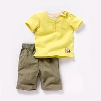 Комплект одежды для девочек 2013New! Boys Denim Leisure short-sleeved suit Lycra + woven 2pcs set, fashion suits for children
