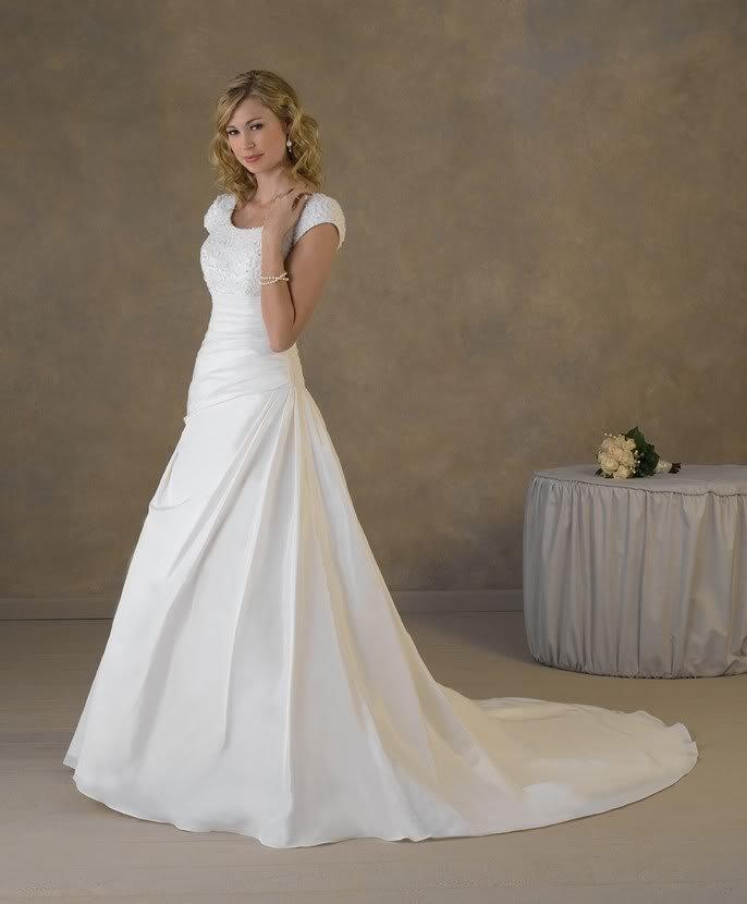 Simple Wedding Dress Accessories : Simple design cap sleeves appliqued satin a line wedding