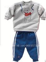 wholesale !Cartoon Winnie Pooh Bear childrens clothing set 2 pcs suit boy's girl's top shirts + pants whole suits outfits