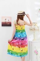 Женское платье 2012 hot sale lowest price best quality mixed order Bohemian printing cotton beach dress LXLK501