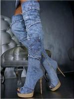 Женские ботинки 2013 new spring denim sexy over knee jean high heel boots High Quality Women Fashion Winter Boots