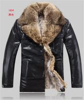 Мужские изделия из кожи и замши! Men's Winter Casual Brand luxury fur genuine Lamb leather men's Fur collar coat Leather jacket, M-4XL