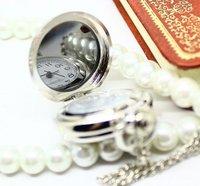 Silver Tone Blue Sky Paris Eiffel Tower Quartz Pocket Watch Necklace  PW151