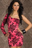 Женское платье Sexy Asymmetrisches One-Arm-Minikleid mit sexy Blumen-Muster LC2858