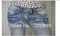2012 top quality Balmanss women catwalk models women  low waist Slim jeans