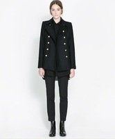 2013 New ZA Fashion Women Autumn Winter Metal Double-breasted Lapel Woolen coat  Outerwear  Black Free Shipping