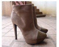 Женские ботинки 2012 new fashion flock snake patchwork pointed toe zip thin high heels platform women boots, lady ankle boots.pumps