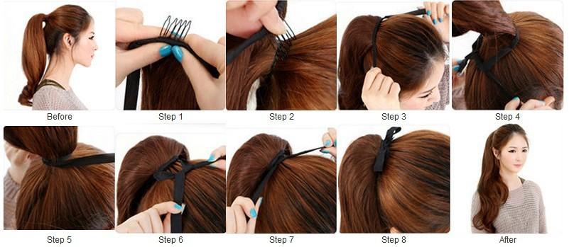 Как сделать хвост из искусственных волос видео