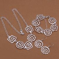 Ювелирный набор New 925 Silver Jewelry Set Earrings+Necklace+Bracelet Sterling Silver Jewelery LS430