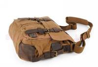Vintage Army Canvas Cow Leather Shoulder Bags Messenger Bag School Bag SKY421