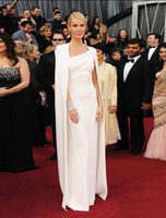 Платье знаменитостей Oscars Best Dressed Charming White Cap Sleeves Cloak Celebrity Dresses Long Party Gowns C2012