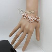 Никель бесплатно высокое качество леди розовый цветок Браслеты бижутерия