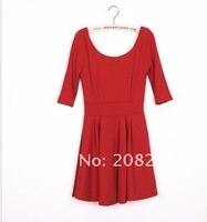 Женское платье 2012 New Autumn Ladies'Dress O-neck Solid Cute Pleated Simple Dress