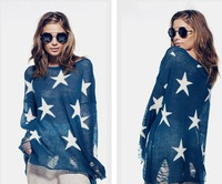 top Fashion wildfox couture seeing stars punk hole loose sweater  black pink blue begie  freeshipping