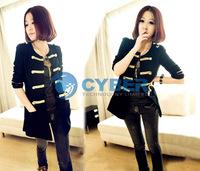 Женская куртка Korea Golden Buttons Double-breasted Women's Cardigan Coat Jacket Outerwear Black