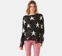 Женский пуловер top Fashion wildfox couture seeing stars punk hole loose sweater black pink blue begie