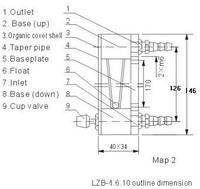 LZB-10 gass трубки ротаметр расходомер для воды / жидкость 6-60 л/ч