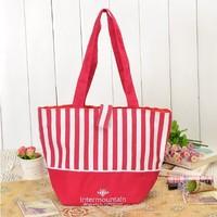 Сумка для шоппинга red & white stripped high quality fashion nylon shpping bags TS-002