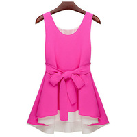 Женские блузки и Рубашки 074 2013 women new fashion beige red patchwork color block irregular sleeveless chiffon blouses dress tops belt