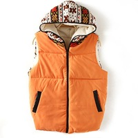 Wholesale Women's Autumn And Winter New 2013 National Style Spliced Knitted Little Bear Printing Large Size Hooded Quilted Vest