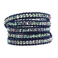 Браслет из бусин hot sale over world genuine leather Crystal beads 925silver button Wrap bracelet