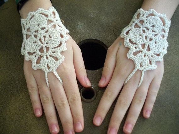 Свадебные свадьба крючком босиком сандалии, Fingless перчатки, Ручной ювелирных изделий, Ноги ювелирных изделий