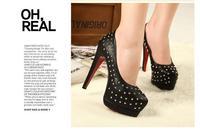 Туфли на высоком каблуке Ex - factory price MZ New Nailing Double Waterproof Rivets Pumps, For Women, And Retail S007