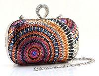 Вечерняя сумка Knuckle Clutch Wedding Shoulder Clasp Hard Handbag Sequin Cocktail Chain Purse