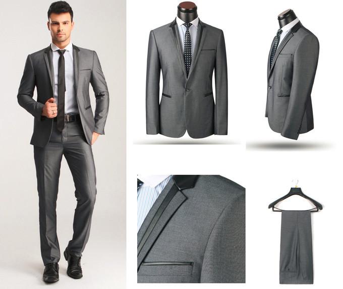 Marca italiana alta calidad negro trajes de boda para hombre .