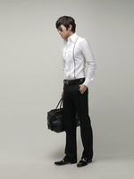 Мужская повседневная рубашка New Mens Casual Slim Fit Stylish Dress Shirts Colour:Black Size:XS, S, M 1516