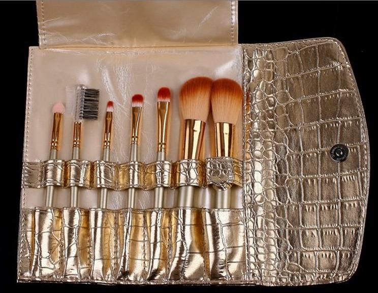 Кисти для макияжа big sale! 7 pcs professional makeup brush cosmetic brushes with gold leather case dropshipping в интернет-ма.