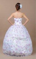 Свадебное платье 2012 high quality wedding dress floor length bridal dress sweep brush train sleeveless strapless bow flower 081