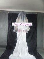 freeshipping 1 tier Bridal White Wedding veil fingertip satin -1f
