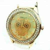 Потребительские товары Rhinestone decoration case, leather belt fashionable lady watch, quartz movement-rbely 8930, owl dial