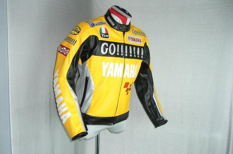 Yamaha 125 r1 r6 yzf r leather motorcycle racing jacket for Yamaha r1 motorcycle jackets