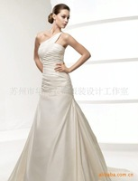 Свадебное платье one-shoulder wedding dress, &retail 2013 fashion satin bridal wedding dress with embroidery