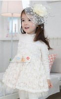 Одежда и Аксессуары 2013 s Children clothing Girls dresses White/Pink Rose baby girl party dress / princess dress