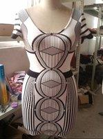 New wholesale white black Chic Celeb Colour Block Bandage Bodycon Party Dress