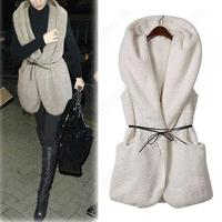 Женский жилет Fashion Hollywood Women's Oversized Thick Faux Fur Sheepskin Hooded Vintage Vest Coat with Belt 31376