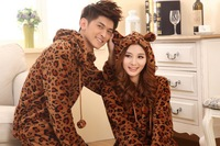 Free shipping! HOT sale ,warm 2012 Pajama Fall and Winter Coralon Leather Men LEOPARD pajamas set (1 long sleeve +1 pants )