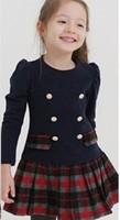 Платье для девочек 2013 spring new girls college wind cotton plaid long-sleeved dress 5pcs/lot CQ010