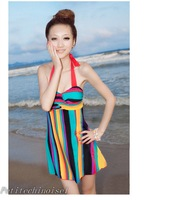 Женский закрытый купальник Tropical Rainbow Exotic Halter Padded One Piece Swimdress Swimsuit Bathing Suit SW492