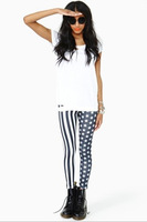 Женские носки и Колготки East Knitting B44 New Fashion Women USA American Flag Stripe Space Star Print Leggings Legwear pants