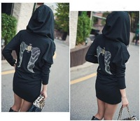 Женское платье WOMEN'S PRINTED BACK OF WINGS HOODED CASUAL SWEATER DRESS SIZE s