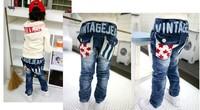 Лучшие продажи! Дети Мода высокое качество джинсовые брюки мальчик девочка Джинсы детские длиной брюк